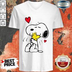Snoopy Hug Woodstock Valentines Day V-neck - Desisn By Soyatees.com