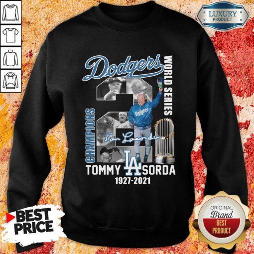 Horrified LA Dodgers World Series Champions 2 Tommy Lasorda Sweatshirt - Design by Soyatees.com