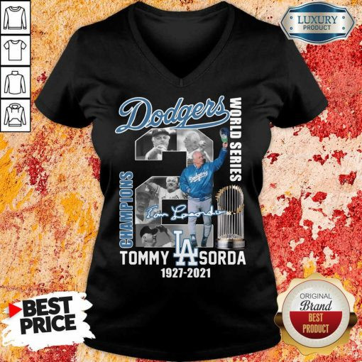 Horrified LA Dodgers World Series Champions 2 Tommy Lasorda V-neck - Design by Soyatees.com