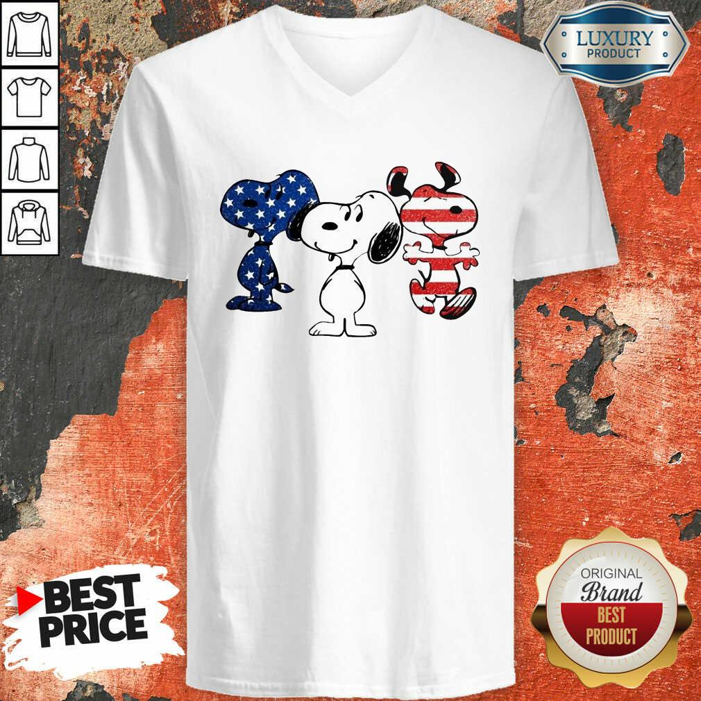 Snoopy American Flag Version V-neck - Desisn By Soyatees.com