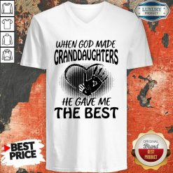 When God Made Granddaughters He Gave Me The Best V-neck - Desisn By Soyatees.com
