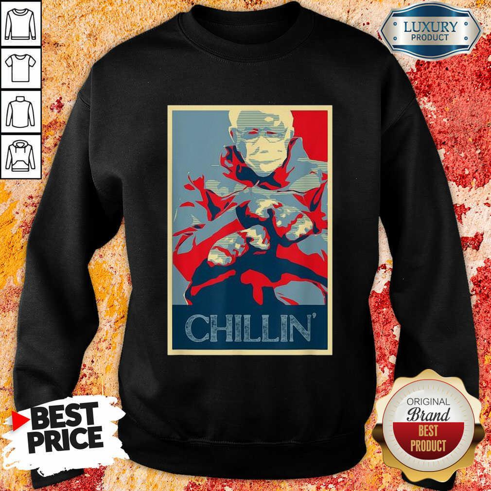 Jaded Bernie Sanders Mittens Meme 4 Chillin Sweatshirt - Design by Soyatees.com
