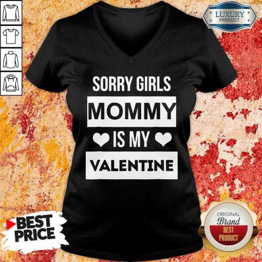 Negative Valentines Day Girls Mommy My Valentine 7 V-neck