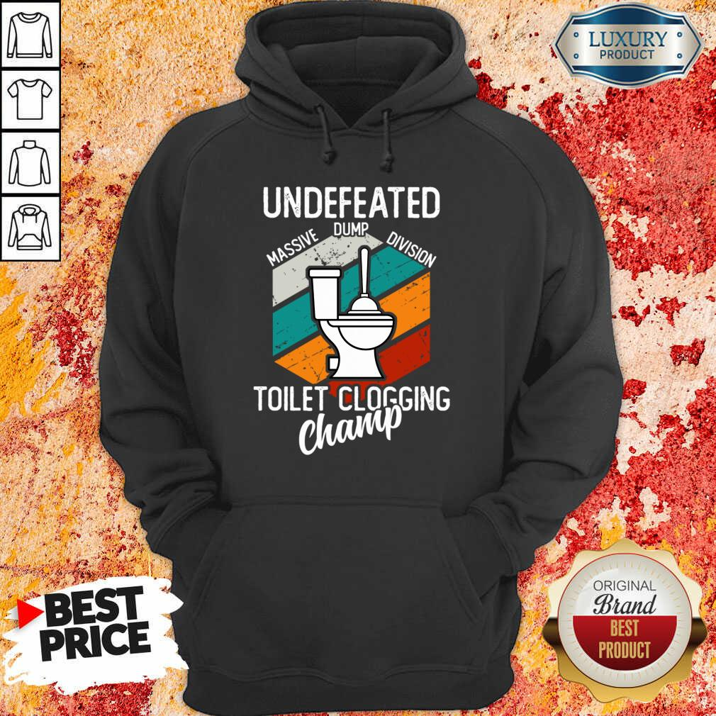 Surprised Undefeated Toilet Clogging 5 Champ Hoodie - Design by Soyatees.com
