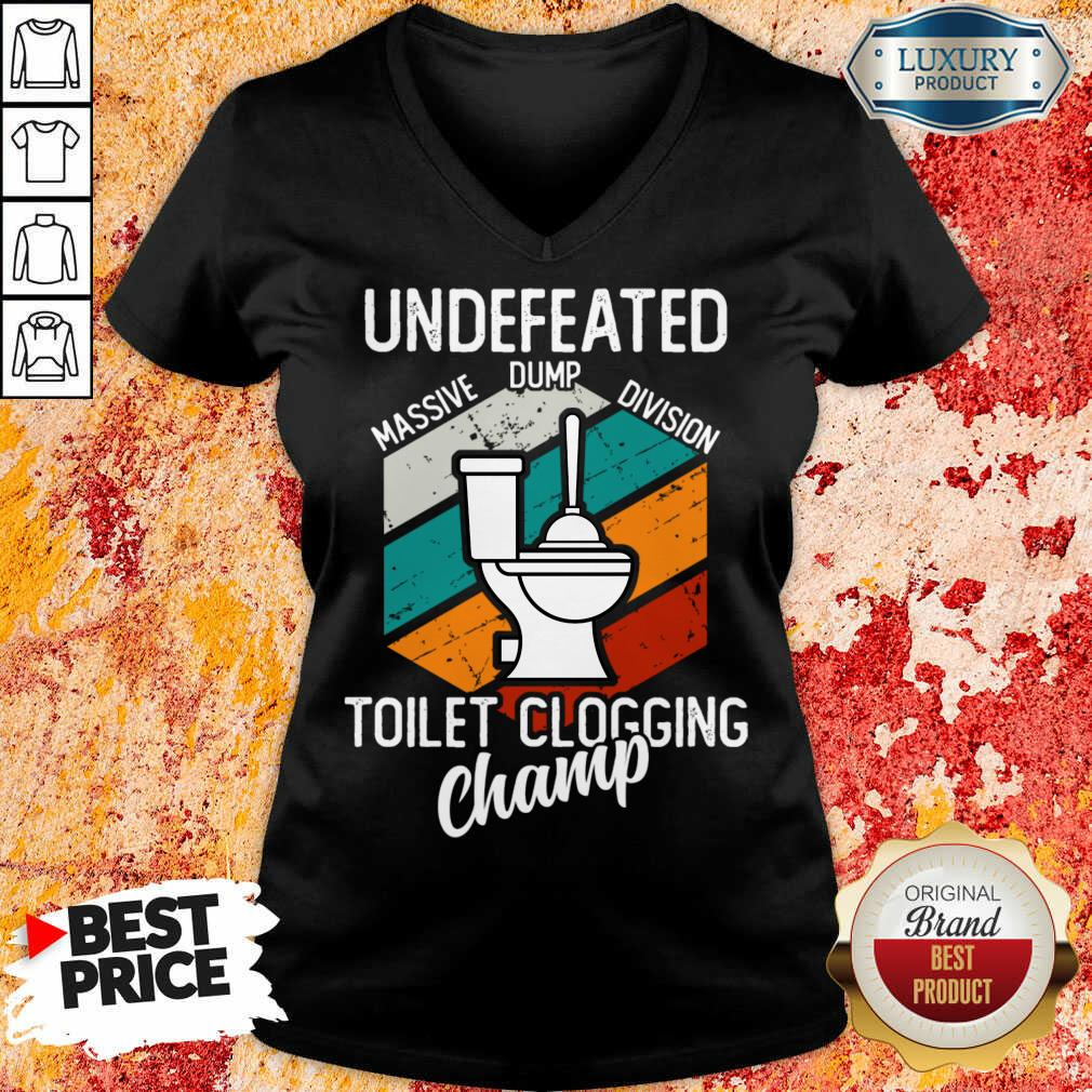 Surprised Undefeated Toilet Clogging 5 Champ V-neck - Design by Soyatees.com