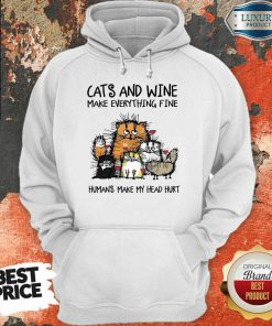 Wonderful Cats And Wine Humans Make My Head 5 Hoodie