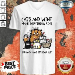 Wonderful Cats And Wine Humans Make My Head 5 V-neck