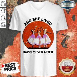 3 Ballet Girls And She Lived Happily Ever After V-neck - Design by Soyatees.com