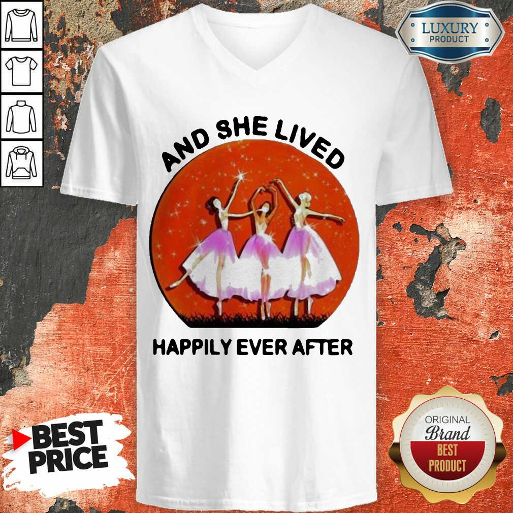 3 Ballet Girls And She Lived Happily Ever After V-neck - Design by Soyatees.com