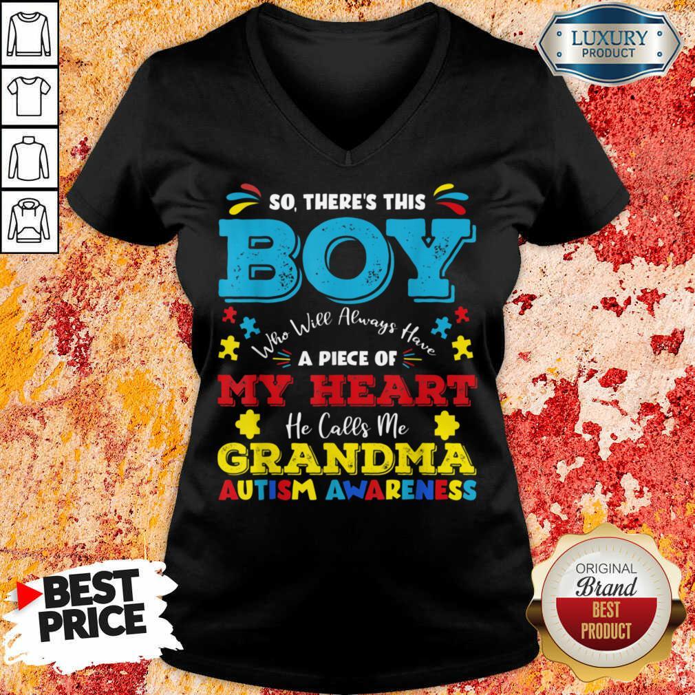 Boy Calls Me Grandma 9 Autism Awareness V-neck - Design by Soyatees.com