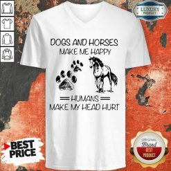 Dogs And Horses Make Me Happy 8 Humans Make My Head Hurt V-neck - Design by Soyatees.com