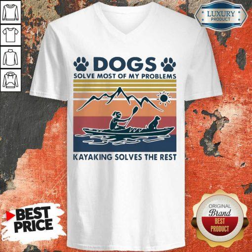Dogs Solve My Problems 7 Kayaking Solves The Rest V-neck - Design by Soyatees.com