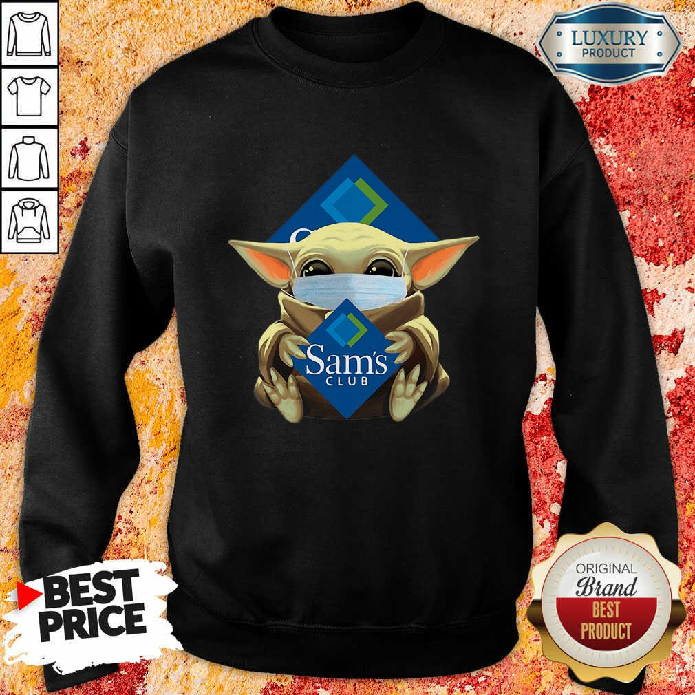 Hot Star Baby Yoda Mask Hug Sams Club Covid-19 Sweatshirt