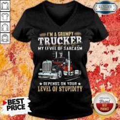 I Am A Grumpy Trucker 5 Level Of Stupidity V-neck - Design by Soyatees.com