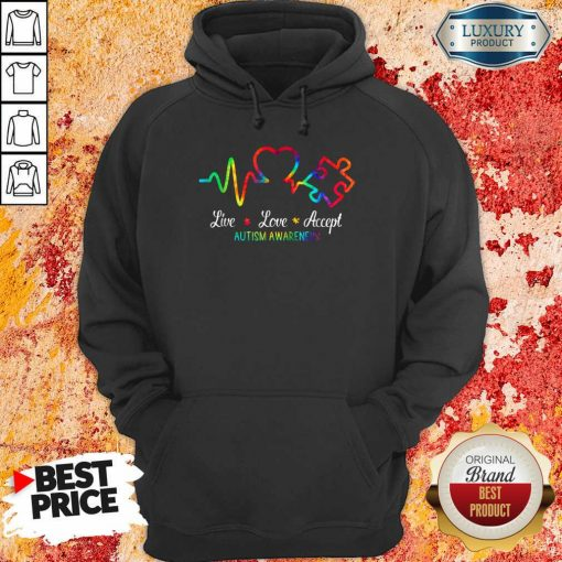 Live Love Accept 2 Autism Awareness Tie Dye Hoodie - Design by Soyatees.comv