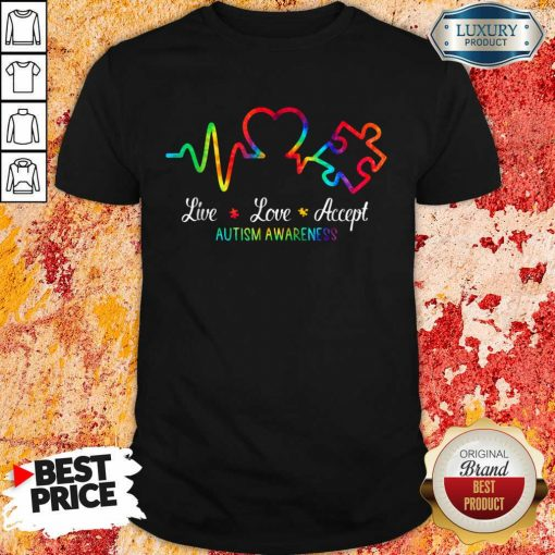 Live Love Accept 2 Autism Awareness Tie Dye Shirt - Design by Soyatees.com