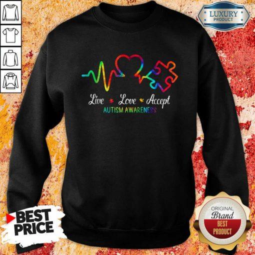 Live Love Accept 2 Autism Awareness Tie Dye Sweatshirt - Design by Soyatees.com