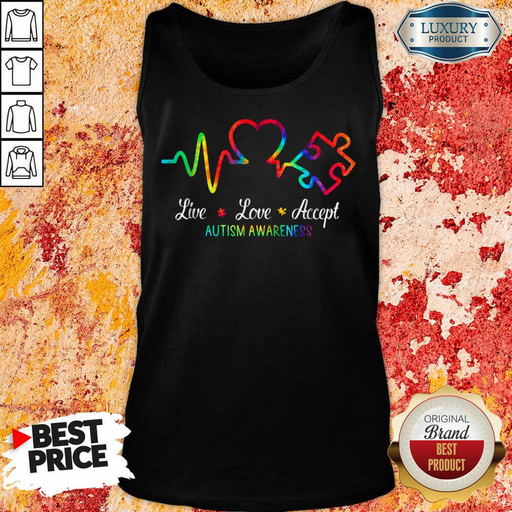 Live Love Accept 2 Autism Awareness Tie Dye Tank Top - Design by Soyatees.com