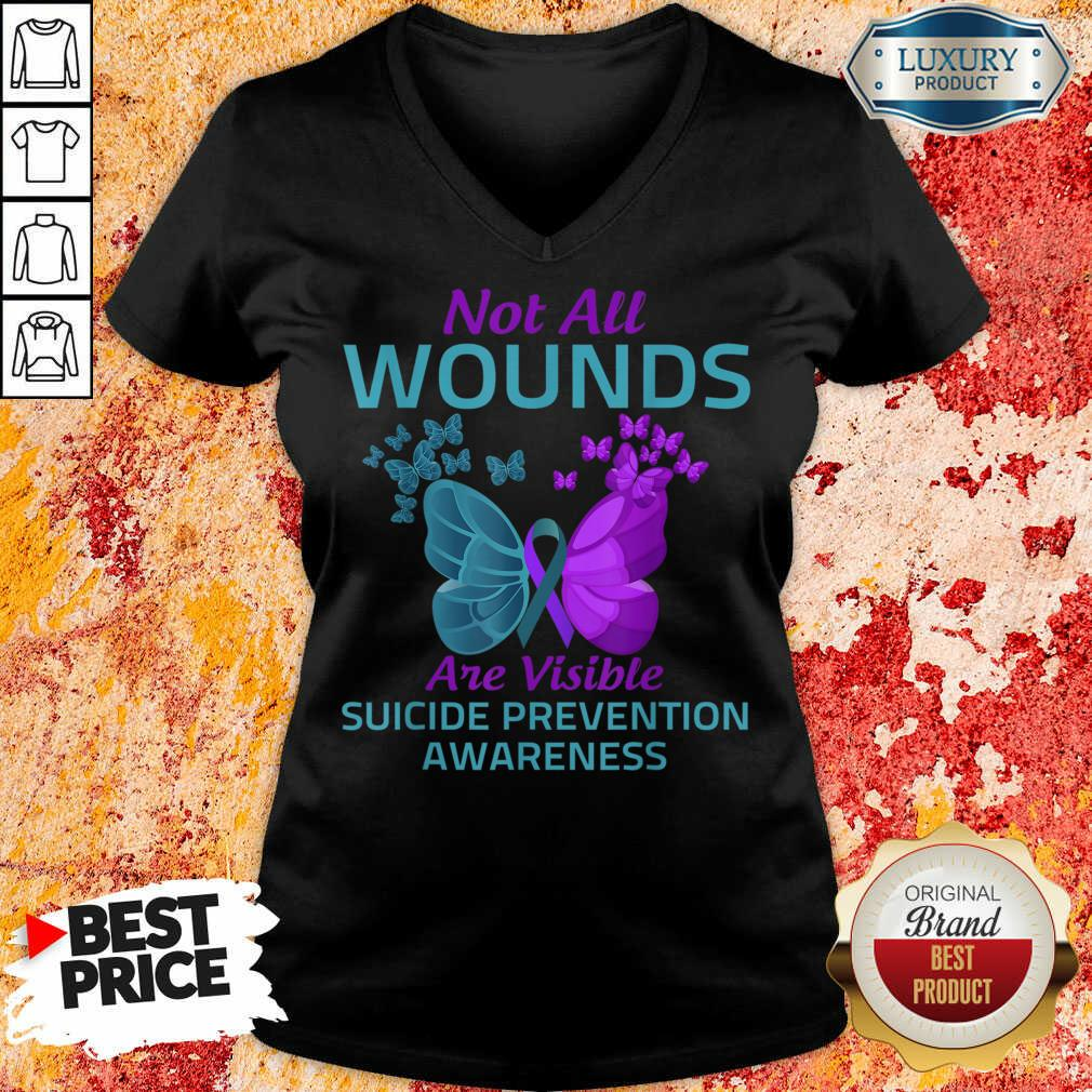 Not All Wounds Are Visible Suicide 7 Awareness V-neck - Design by Soyatees.com