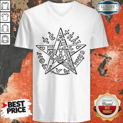 Tetragrammatron 4 V-neck - Design by Soyatees.com
