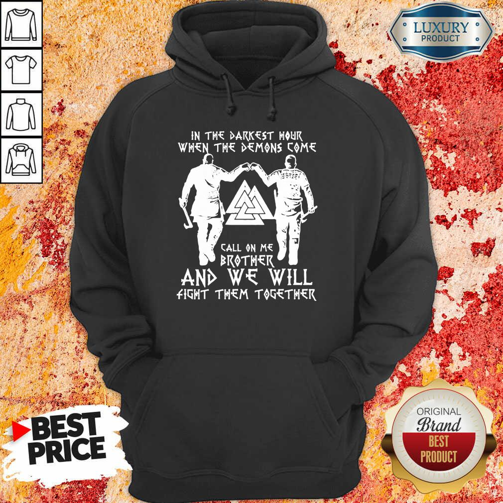 When The Demon Come Call On Brother 8 Viking Black Hoodie - Design by Soyatees.com