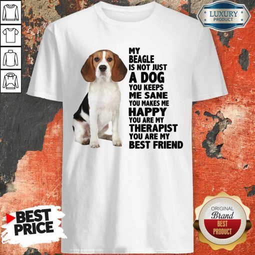 Awesome My Beagle Is Not Just A Dog You Keeps Me Sane You Make Me Happy You Are My Therapist You Are My Best Friend Shirt