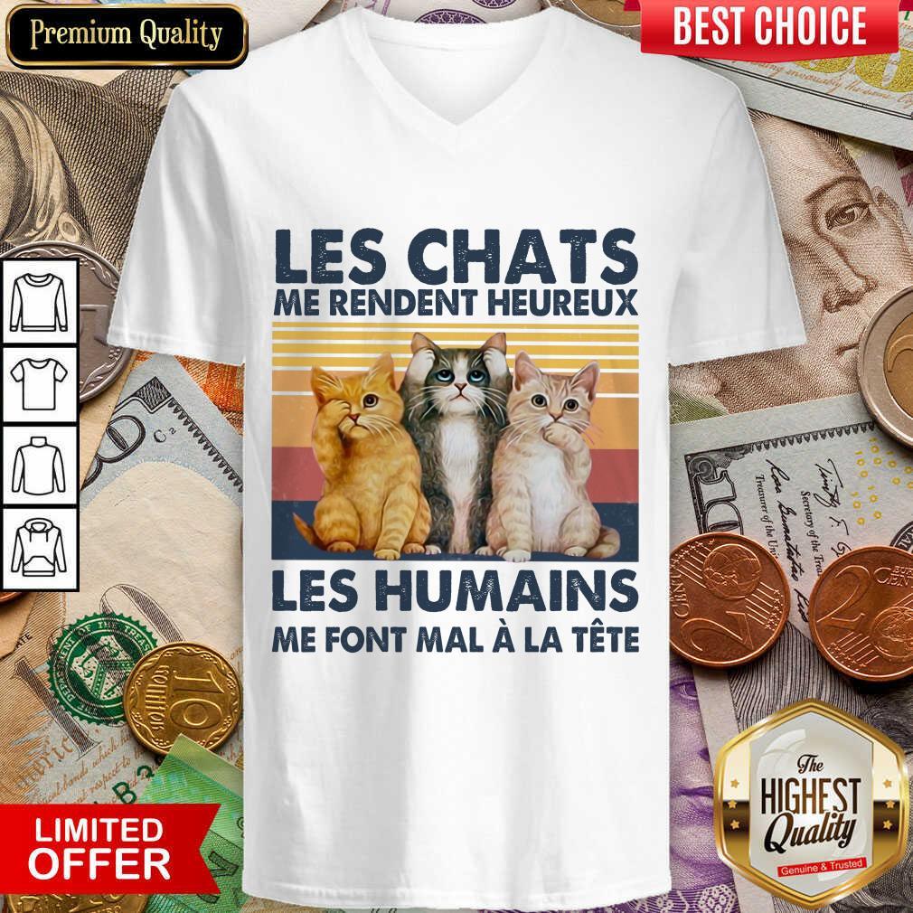 Nice Cat Les Chats Me Rendent Heureux Les Humains V-Neck