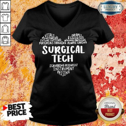 Perfect Surgical Tech Heart Word V-neck