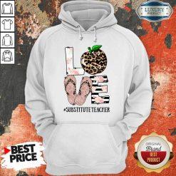 Top Apple Leopard Love Substitute Teacher Hoodie