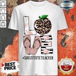 Top Apple Leopard Love Substitute Teacher Shirt