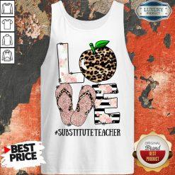 Top Apple Leopard Love Substitute Teacher Tank Top