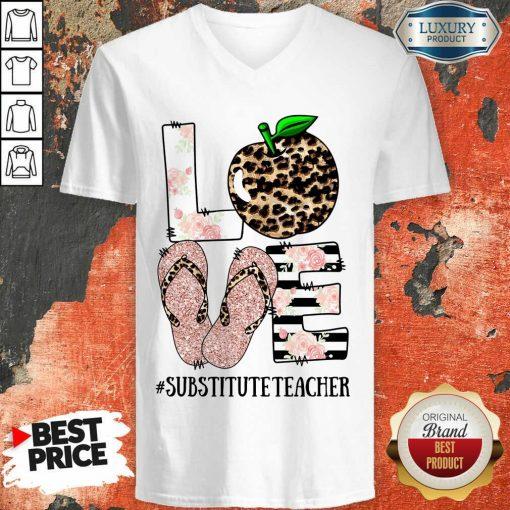 Top Apple Leopard Love Substitute Teacher V-neck