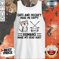 Top Cats And Hockey Make Me Happy Humans Make My Head Hurt Tank Top