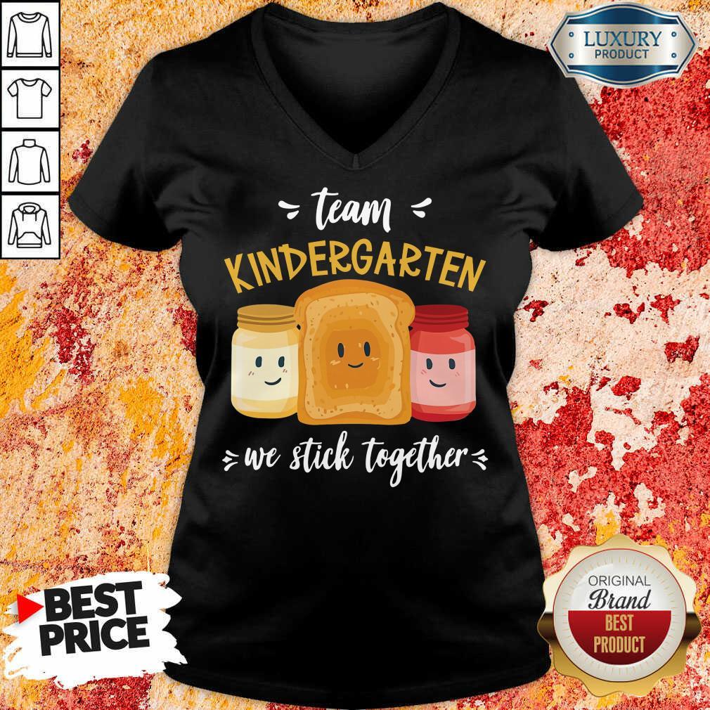 Top We Stick Together Sandwich Team Kindergarten V-neck