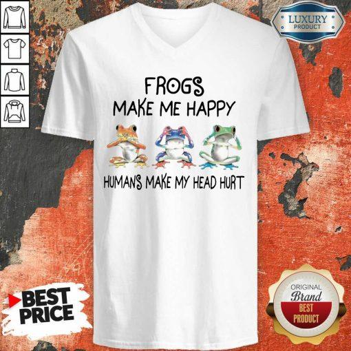 Frogs Make Me Happy V-neck