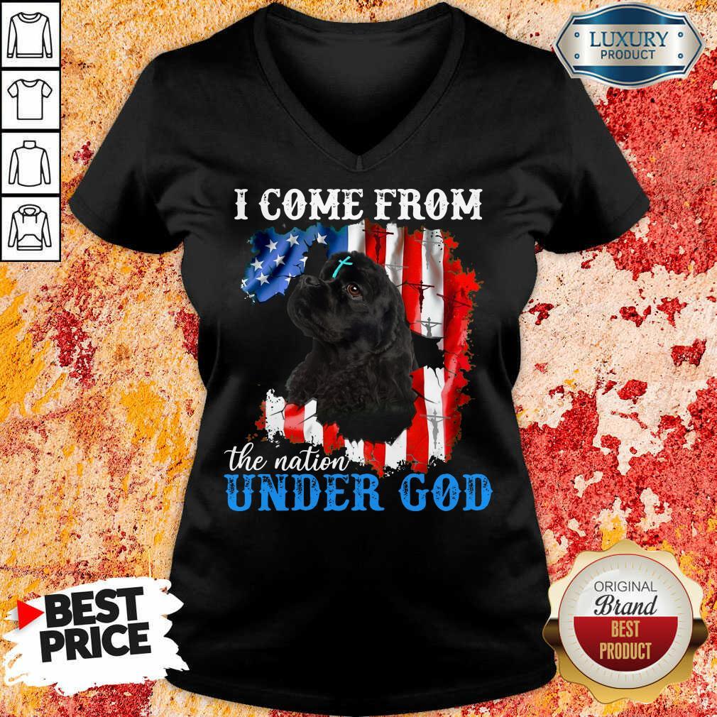 Top Cocker Spaniel American The Nation Under God  V-neck